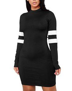 MolVee Women s Sexy Bodycon Tight Long Sleeve Dress Nightclub Mini T Shirt  Dresses (M 62510b13016e