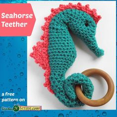 """""""This sweet seahorse teether is a cuddly new friend for your baby, with a teething ring wrapped up in its tail. You can also make it as a stuffed toy, without the teething ring."""""""