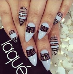 black and white nails with blank space Red Nails, White Nails, Hair And Nails, Stiletto Nail Art, Acrylic Nails, Beauty Hacks Nails, Beauty Tricks, Mobile Nails, Tribal Nails