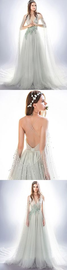 #Beading Prom Dress #Brush Train prom dress #Appliques prom dress #popular prom dress #fashion prom dress
