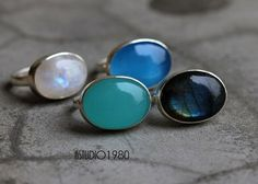Aqua Blue Chalcedony ring jewelry Bezel set mint by Studio1980