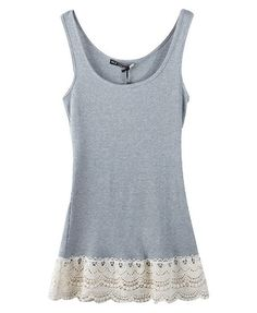 Grey Tanks with Lace Hem