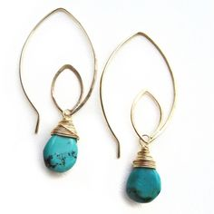 Turquoise and silver wire earrings $87