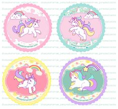 Unicorn Cupcakes, Unicorn Cake Topper, Unicorn Cat, Rainbow Unicorn, Epiphany Crafts, Bottle Cap Images, Diy Bottle, Unicorn Birthday Parties, Kids Cards