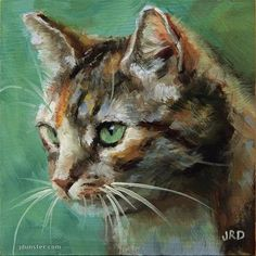 """Daily Paintworks - """"Cat in the Grass"""" - Original Fine Art for Sale - © J. Dunster"""