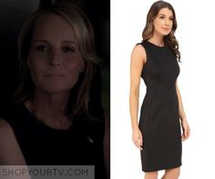 "Patricia Eamons (Helen Hunt) wears this black sleeveless sheath dress in this episode of Shots Fired, ""Hour Rock Bottom"". It is the Calvin Klein Sleeveless Sheath Dress. Helen Hunt, Shots Fired, Rock Bottom, Season 1, Sheath Dress, Calvin Klein, Tv, How To Wear, Outfits"