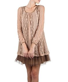 Look at this Blush & Cocoa Three-Bow Shift Dress on #zulily today!