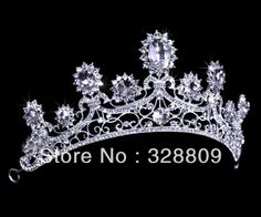 new designer hot sale clear crystal fashion Queen bridal tiara wedding crown  hair accessory