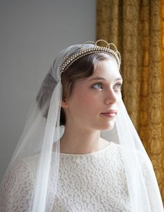 1930s Wedding headpiece with crystals and pearls by AgnesHart