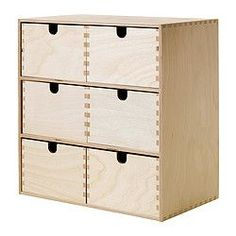 "IKEA - MOPPE, Mini storage chest, 16 ½x7x12 5/8 "", , Helps you organize everything from paper, USB sticks and rechargers to makeup and accessories.Untreated wood; can be treated with oil, wax or glazing paint for increased durability and a personal touch."