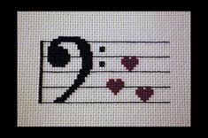 Music Clef Love PDF Cross Stitch Pattern by BlueTopazStitchery