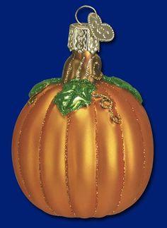 "Pumpkin, 2 ¾"" Merck Family's Old World Christmas Halloween glass ornaments Z"