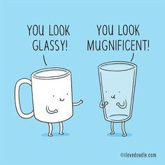 Glass and mug _______________________ Illustration by Lim Heng Swee @limhengswee http://www.ilovedoodle.com #compliment #feelgood