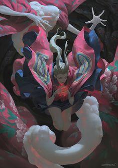 Mysticism, Japanese Folklore and Mechanical Gears by Zeen Chin Art Inspo, Kunst Inspo, Art And Illustration, Illustrations, Anime Kunst, Anime Art, Folklore Japonais, Bel Art, Fantasy Kunst