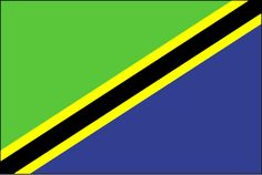 Tanzania Flag ~ The flag of Tanzania was officially adopted on June 30, 1964.           The green and black, representing the land and people of Tanzania, were taken from the original Tanganyikan flag. The blue, symbolizing the sea, was borrowed from the Zanzibar flag.
