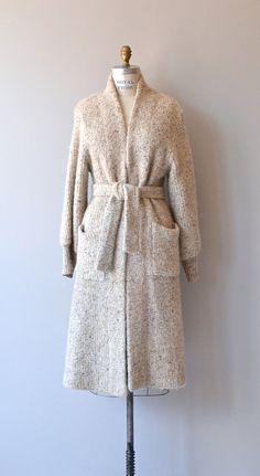Sennica Flax wool sweater coat vintage wool knit by DearGolden