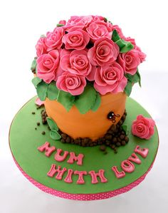 Mothers Day cake decorated as roses in a flowerpot #mothersday #cake #roses #flowerpot
