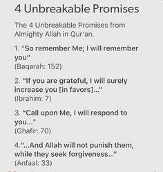 4 unbreakable promises from Him Beautiful Islamic Quotes, Islamic Inspirational Quotes, Islamic Qoutes, Islamic Dua, Allah Islam, Islam Quran, Islam Muslim, Islam Hadith, Quran Verses