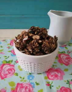 Chocolate Cherry Granola - A crunchy, healthy, vegan, chocolate flavored granola made with gluten free oats, almonds, dried cherries and coconut.