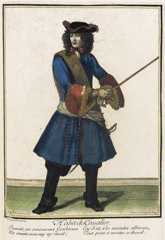 """1672-1676 French Fashion plate """"Recueil des modes de la cour de France, 'Habit de Cavalier'"""" at the Los Angeles County Museum of Art, Los Angeles"""