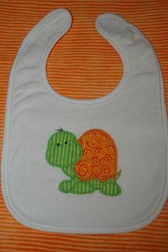 Cute Appliqued Turtle Baby Bib by sewsewcutesewing on Etsy, $6.00