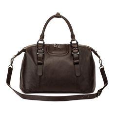 Roxy Genuine Leather Top handle Handbag, Brown