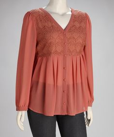 Take a look at this Coral Woven Plus-Size Top by Perch by Blu Pepper on #zulily today! $31.99, more than I would pay for a top but super cute!