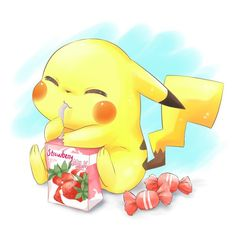 Pokemon fan art featuring a cute little pikachu enjoying a sip of strawberry milk! I love the painterly style of this art piece! Pikachu is so adorabl! Pikachu Drawing, Pikachu Art, Cute Pikachu, Pokemon Eevee, Pokemon Fusion, Pikachu Chibi, Pikachu Memes, Pokemon Fan, Cute Pokemon Wallpaper