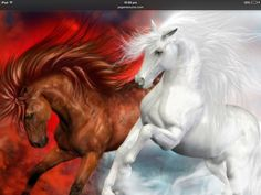 Fire and ice horse image, beautiful.