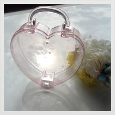 Rare heart shape Perspex clutch box by bigcockroach on Etsy, $50.00