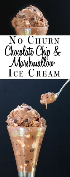 No Churn Chocolate Chip & Marshmallow Ice Cream - Erren's Kitchen - Condensed milk is thr magic ingredient - end result is creamy, smooth and not icy. Cold Desserts, Ice Cream Desserts, Frozen Desserts, Ice Cream Recipes, Frozen Treats, Delicious Desserts, Dessert Recipes, Gelato, Marshmallow Ice Cream Recipe