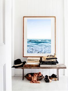 kara rosenlund prints - beautiful I love the pairing of a large scale print, rustic bench pure white surfaces.