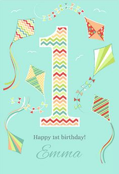 """""""Fun 1st Birthday"""" printable card. Customize, add text and photos. Print for free!"""