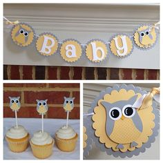 Owl BABY SHOWER Banner or NAME Yellow & Gray by TeaLeavesandTwine on Etsy