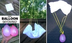 Water balloon skydiving--Activity regarding gravity, air resistance and kinetic energy Science Lessons, Teaching Science, Science For Kids, Science Projects, Science Activities, Summer Activities, Preschool Activities, Scout Activities, Science Fun