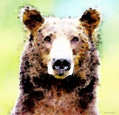 Abstract Brown Bear Art - Curious Painting by Sharon Cummings - Abstract Brown Bear Art - Curious Fine Art Prints and Posters for Sale