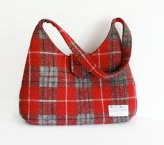 Harris Tweed Bag / Red Tartan Handbag / Scottish by MyCottonHouse