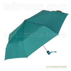Paraguas Bisetti mujer plegable automático triángulos turquesa
