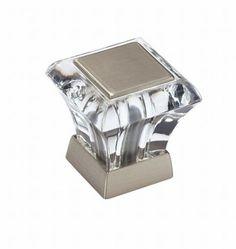 Abernathy Glass Square Knob Satin Nickel Amerock-BP29460CG10.  I LOVE this knob.  Elegant and a beautiful look.