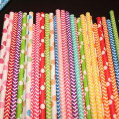 Circus Paper Straws Carnival Raimbow Party by GlitterDaisyShop