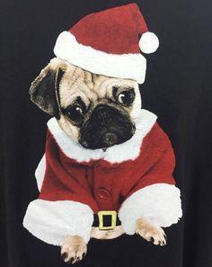 Pug T-Shirt Christmas Santa Adult XL Black Tee All Cotton Short Sleeve Men Women #DeltaProWeight #ShortSleeve