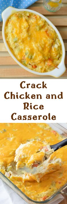 Crack Chicken and Rice Casserole Recipe from Hot Eats and Cool Reads! Dinner doesn't get much better than this delicious comfort food casserole! It's packed with carrots, green pepper and onion and uses easy ingredients like leftover rotisserie chicken, rice a roni and cream of chicken soup!  #chicken #casserole #foods #dinnerideas