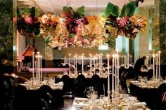 Flower arrangements hanging from the ceiling