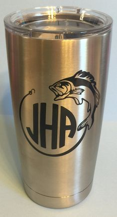 Hooked Fish Personalized Yeti Tumbler With Monogram Initials by LeslisDesigns on Etsy