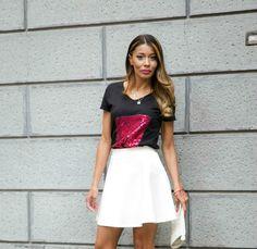 Gatta Vaidosa: T-shirt preta com Paetês - Missevolution
