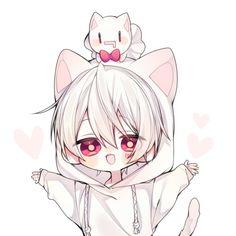 Utaite Mafumafu, to kawaii for this world. Chibi Boy, Cute Anime Chibi, Cute Anime Guys, Neko Kawaii, Kawaii Art, Dossier Photo, Anime Bebe, Image Manga, Animes Wallpapers