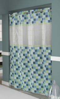 Hookless Shower Curtain With Window Mosaic Jade Hall Bathroom Decoration