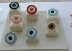 New Evil Eye Rings with synthetic mother of pearl .