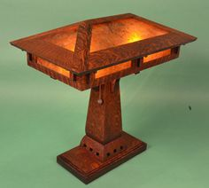 Arts and Crafts Mission Style Oak and Mica Table Lamp by RagsdaleLighting on Etsy https://www.etsy.com/listing/172874371/arts-and-crafts-mission-style-oak-and