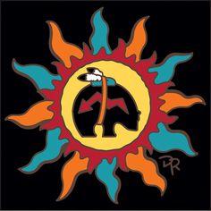 Tile Southwest Sun with Bear Fetish Native American Artwork, American Indian Art, American Symbols, Native Drawings, Animal Drawings, Bear Spirit Animal, Sun Drawing, Bear Totem, Drawing Exercises